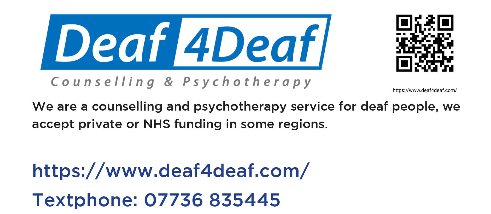 Banner linking to the Deaf 4 Deaf counselling service