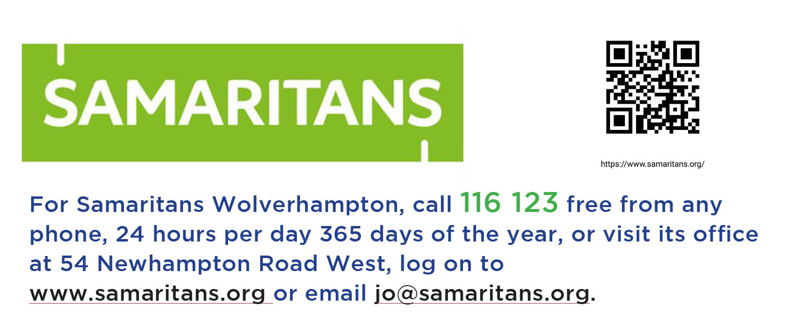 Banner linking to Samaritans website