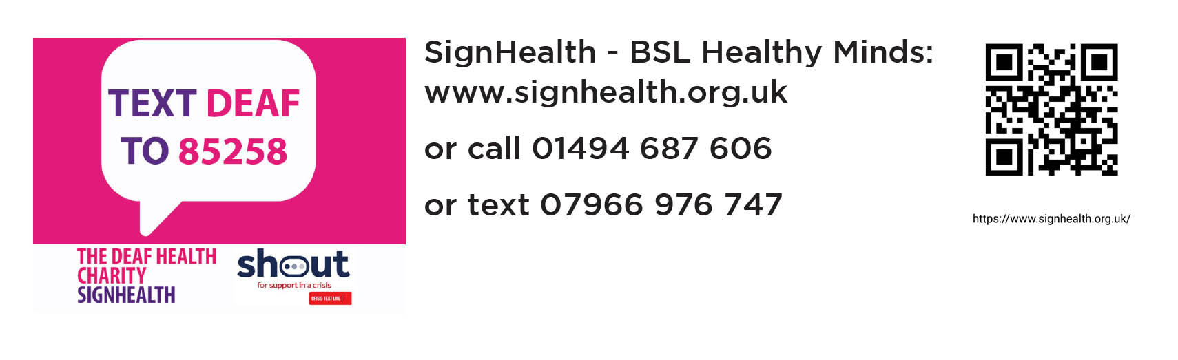Banner link to the Charity Sign Health for deaf people in the UK